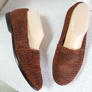 Cole Haan Resort brown woven leather loafers